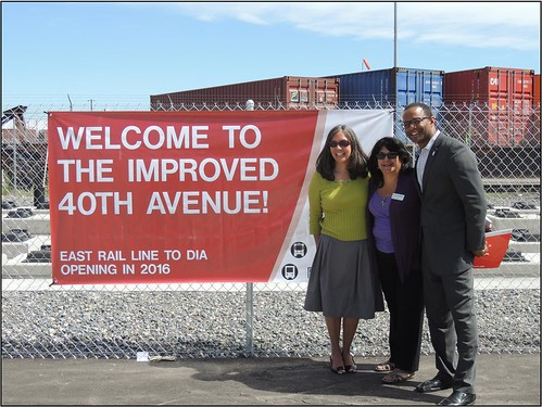 Photo of Denver Council Member Judy Montero, RTD Director Angie Rivera-Malpiede and Denver Council Member Albus Brooks at 40th Avenue reopening