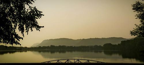 morning lake water landscape midwest scenery scenic august winonaminnesota hazysky