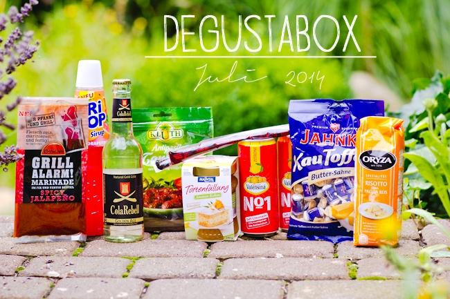 Inhalt Degustabox Juli, Valensina, Maintal, Oryza, Tritop, Colarebell, Shotice, Ostmann, Kluth, Jahnke
