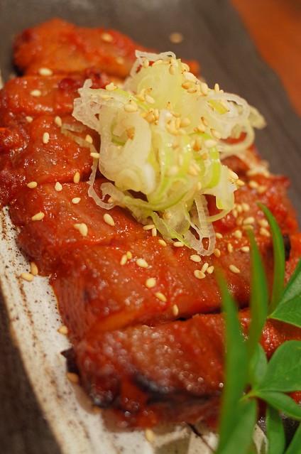 red hot spicy grilled pork   豚肩ロース唐味噌漬け