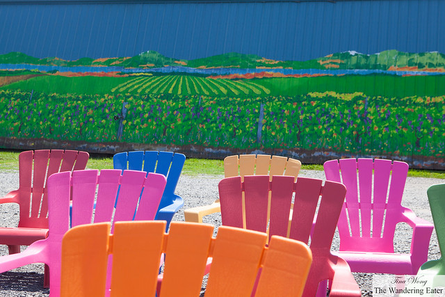 Technicolor chairs and mural of Arbor Hill Winery