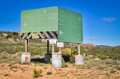 Washed out road signs, South Africa