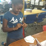 Kamari making a tool for embroidery