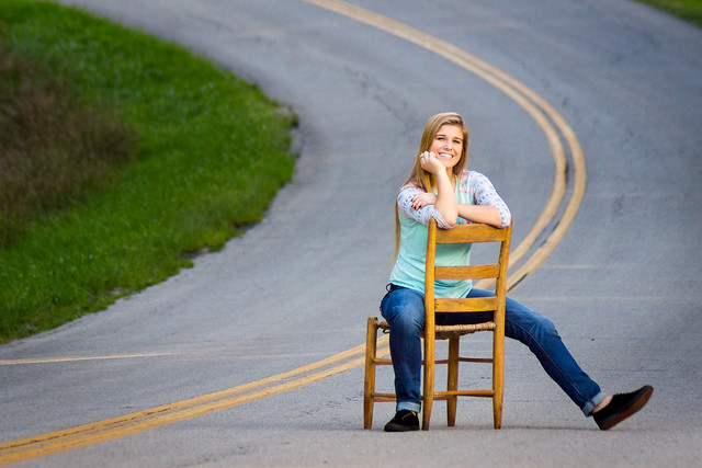 Senior Portrait, Chair, Girl, Woman, Portrait, Road, Yellow Line, Casual