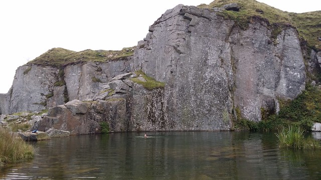 Phil having a bath in Foggintor Quarry