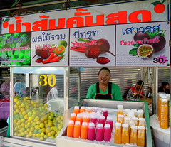 Street fruit juice vendor in Bangkok