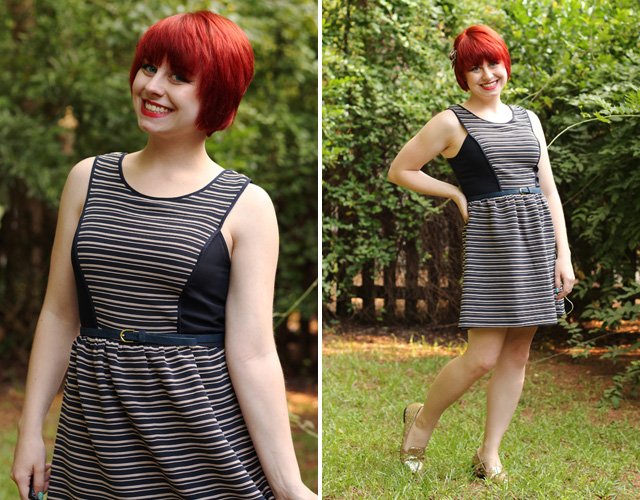 Striped Fit & Flare Modcloth Dress with Sparkly Gold Loafers