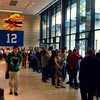 Half of the line for the #Seahawks guest barista appearance @starbucks in the Russell Investments Center building.