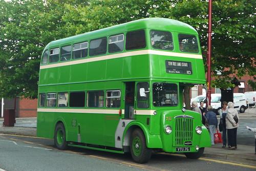 Stalybridge, Hyde, Mossley and Dukinfield Joint Transport Board, Daimler CVG6, VTU 76, outside Dukinfield Town Hall (far side)
