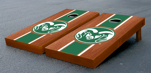 Colorado State University Rams Cornhole Game Set Rosewood Stained Stripe Version