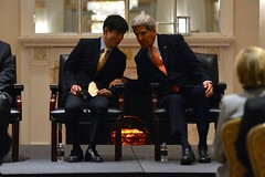U.S. Secretary of State John Kerry chats with Shin Dong-hyuk, a survivor of North Korean human rights abuses, at an event highlighting human rights abuses in the Democratic People's Republic of Korea in New York City on September 23, 2014. The Secretary is participating in events in conjunction with the 69th Session of the United Nations General Assembly. [State Department photo/ Public Domain]