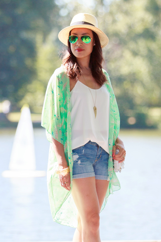 AMI Clubwear mint floral kimono, HRH Collection crisp white tank, Old Navy distressed boyfriend shorts, H&M Panama hat, Sam Edelman DIon sandals, Ray-Ban mirrored green aviator sunglasses, JewelMint Bird Cage bangle, fashion, style, summer, Vancouver, boho