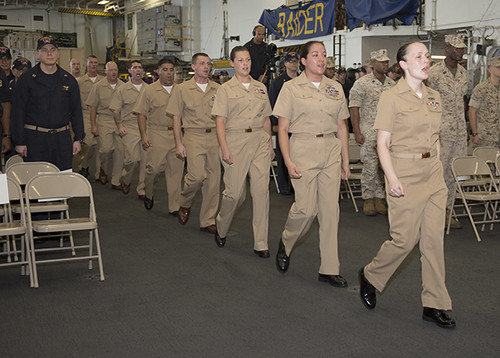 U.S. 5th FLEET AREA OF RESPONSIBILITY - Ten Sailors were pinned to chief petty officer (CPO) during a ceremony held aboard the amphibious assault ship USS Makin Island (LHD 8).