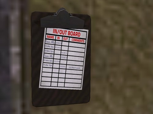 Image Description: A clip board hanging on a wall with Skip Dares' name on it.