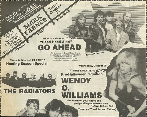 10/29/86 Wendy O. Williams @ The Cabooze, Minneapolis, MN (Ad-Top)