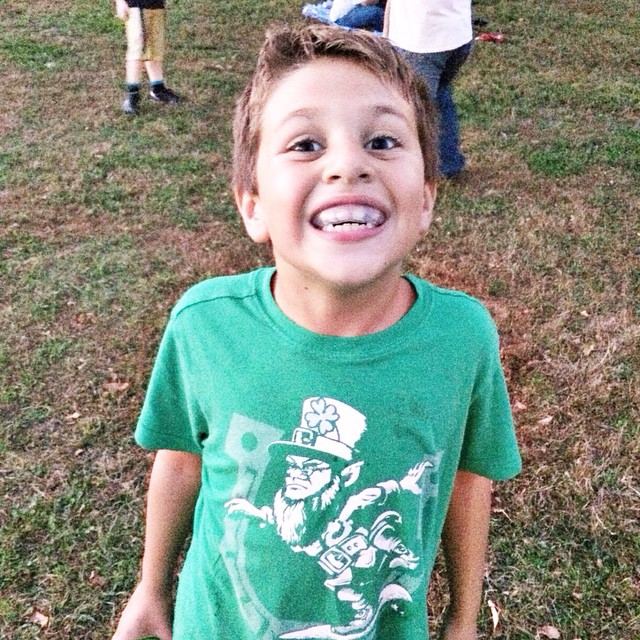 My little Greek-Irish flag football player - including his mouth guard. #owenchristopher