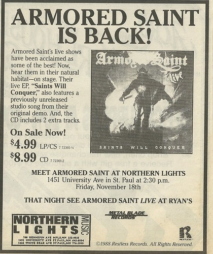 "November 1988 Armored Saint ""Saints Will Conquer"" Album Ad"