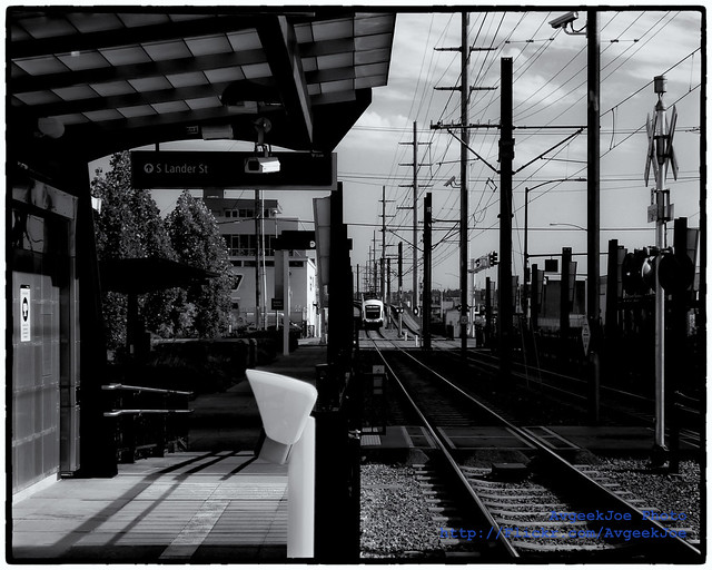Black & White of SoDo Station as Central Link Train is About to Arrive