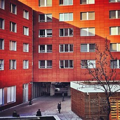Red Building Exterior Architecture Built Structure Window Day Outdoors City Winter Sun Milan Italy