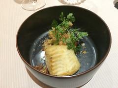 Plie - Poireau, moules, brioche torréfiée, sabayon sherry/citron vert.