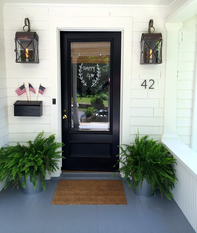 My front porch/door decorated for July 4th