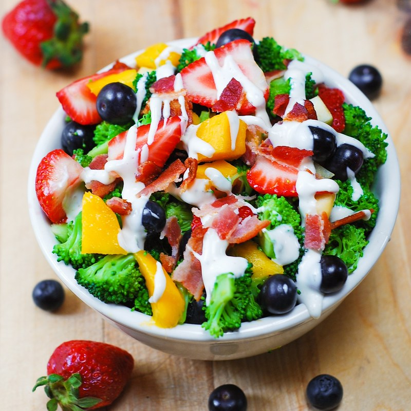 Broccoli salad with strawberries, mango, and bacon