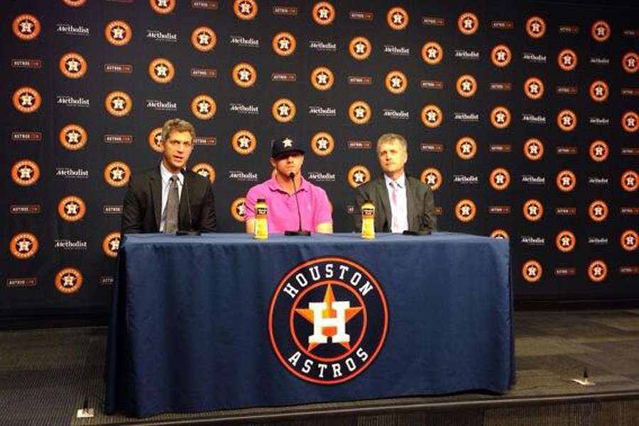 July 1, 2014 - Virginia Cavalier Derek Fisher introduced by the Huston Astros as a newly signed first round draft pick.