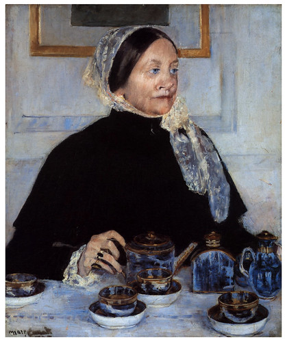 012 Señora y mesa de Te- 1885- Pintura al oleo- Mary Cassatt.