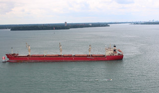 The Hong Kong-flagged freighter vessel Federal Rideau sits hard aground in the downbound shipping channel of Lake St. Clair near the Detroit River, July 28, 2014.  The is carrying approximately 22,672 tons of wheat and was headed to Montreal.  U.S. Coast Guard photo courtesy of Coast Guard Air Station Detroit.