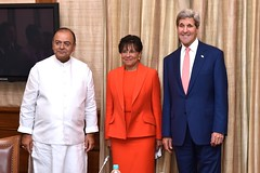 U.S. Secretary of State John Kerry and U.S. Commerce Secretary Penny Pritzker pose with Indian Minister of Finance and Defense Arun Jaitley in New Delhi, India, before a meeting as part of a Strategic & Economic Dialogue between the two countries on July 31, 2014. [State Department photo/ Public Domain]