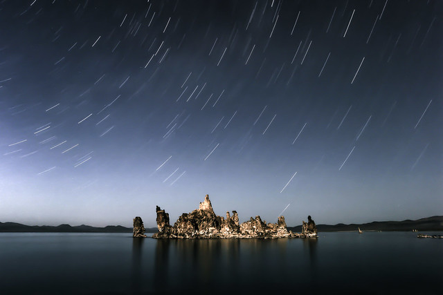 star, trail, night, sky, island