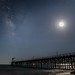 Milky Way and Moon Over Gaviota Pier. by flyfisher15