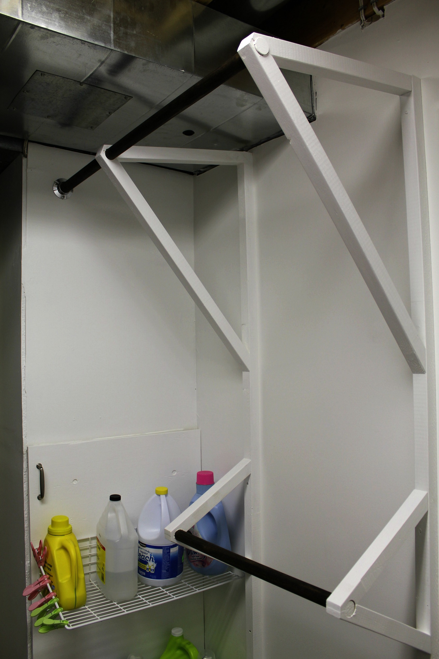 hanging rods laundry room