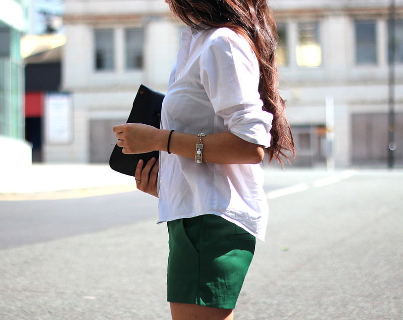 Article 21 Uk Fashion & Style Blog, Green Shorts, Slim Fit Dark Green Shorts, Tailored White Shirt, ASOS White Shirt, Short Sleeved White Shirt, ASOS Shirt, Summer Shorts, Summer Workwear, uk fashion blogger, top uk blogs, best uk fashion blogs, british fashion blogs, uk chinese blogger, manchester fashion blogger
