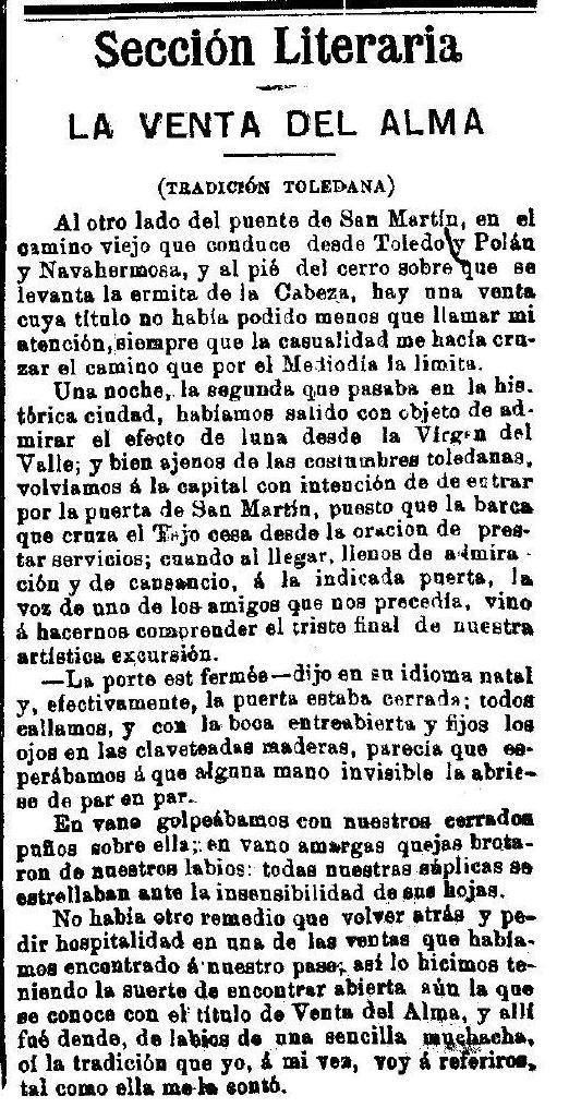 """""""La Venta del Alma"""", leyenda toledana publicada por Adrián García Age el 7 de septiembre de 1891 en """"El Correo Militar""""."""