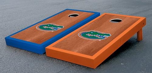 Florida UF Gators Cornhole Game Set Stained Gator