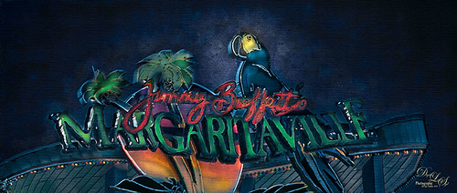 Image of Jimmy Buffett's Margaritaville sign at City Walk in Orlando, Florida