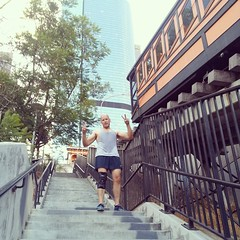 How does one celebrate winning the #globalmudder costume content? By sprinting the Angel's Flight stairs. #dtla #losangeles #ninjaseason #toughmudder