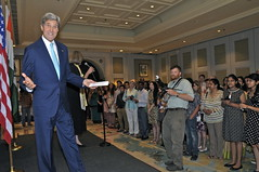 U.S. Secretary of State John Kerry speaks to the assembled staff of Mission India to thank them for their work during his visit to New Delhi on August 1, 2014.