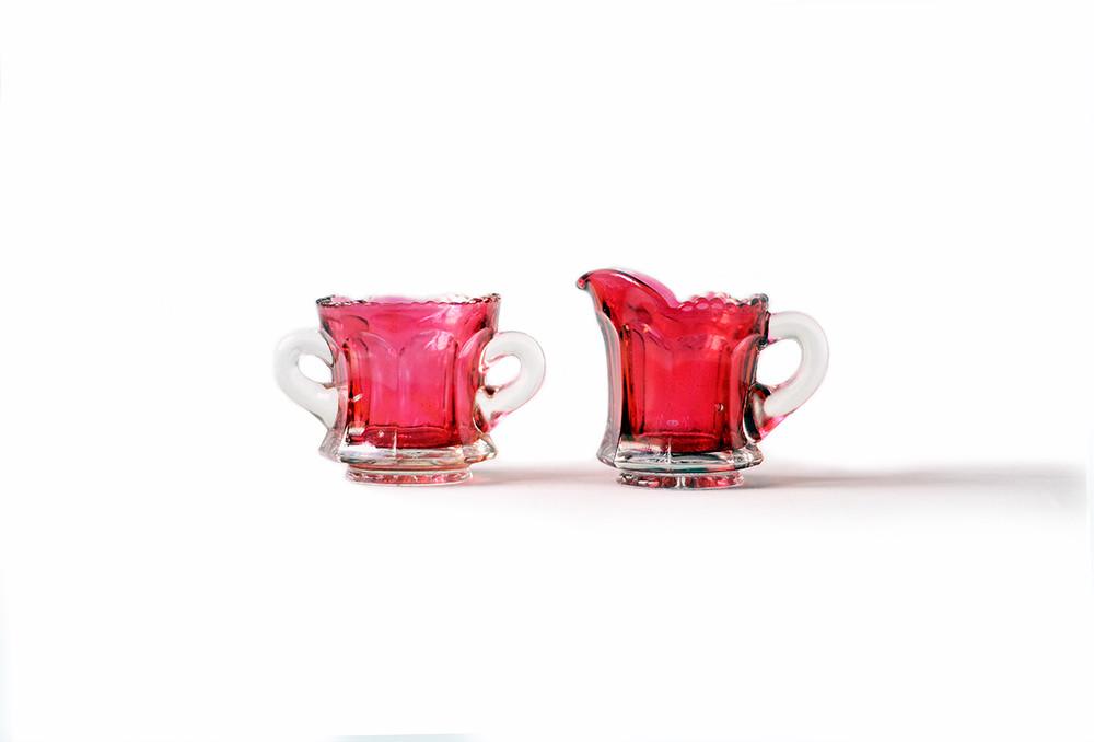 Small Vintage Ruby Pink Sugar Bowl and Creamer