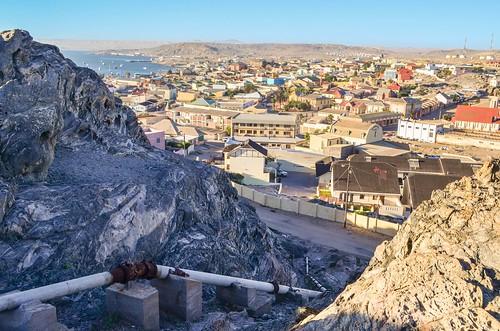 Réservoirs d'eau sur le dessus de Lüderitz, Namibie