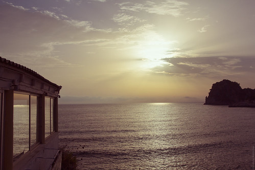 sunset sea mountains reflection water evening seaside greece shore coastline corfu tonight sunfall