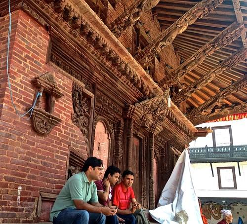 three men in Durbar Square