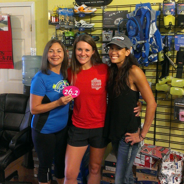 Look at these beautiful ladies that popped in today for refuel AND, 26.2 first marathon magnet!!! Woooohoooo!!! #triouradventure  #triathletesarecrazy  @blkerby