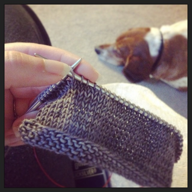 For the first time in years I knit an actual swatch. In 2 different needles. I even washed and blocked it! For my #bluesandcardigan out of Flannel Plucky Primo. #plucktember
