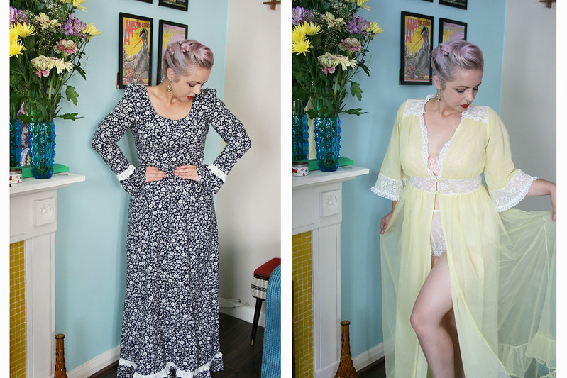 Vintage clothing dresses and pretty dressing gowns