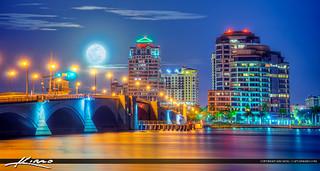 West Palm Beach Moon Set Over Skyline