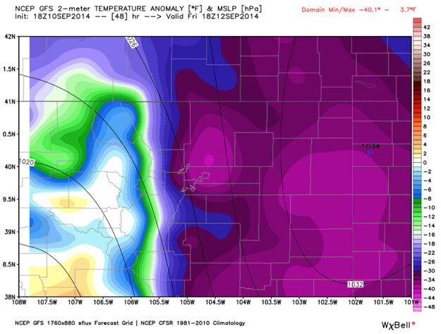 GFS two meter temperature anomaly Denver, Colorado