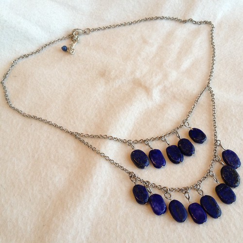 Lapis Drop Necklace - After