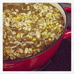 Colorado White Bean Chili. And a ton of it. I couldn't fit it all in the Dutch oven we have ...